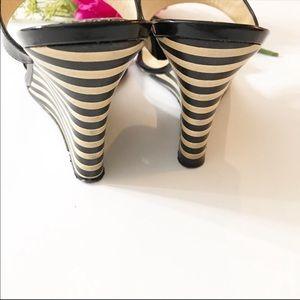 kate spade Shoes - Kate Spade Patent Leather Stripe Wedge Sandal